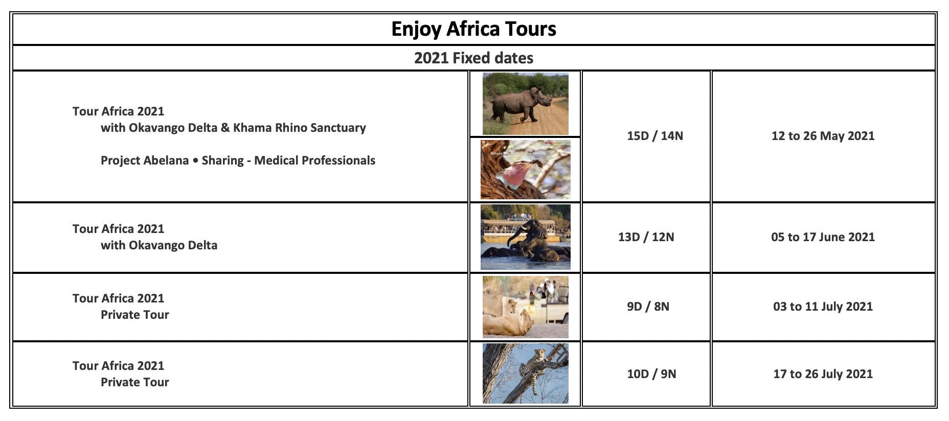 Enjoy Africa Tours 2021