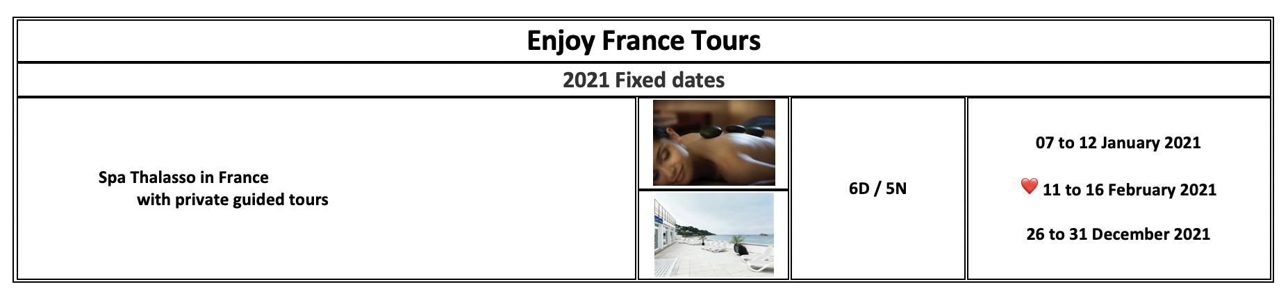 Enjoy France Tours 2021 Spa Thalasso