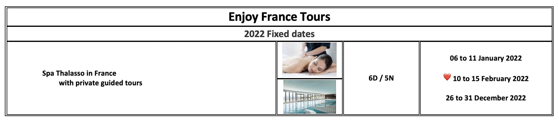 Enjoy France Tours 2022 Spa Thalasso