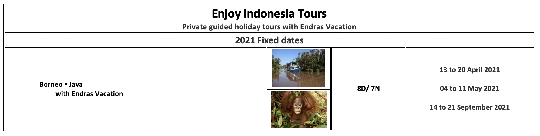 Enjoy Indonesia Tours 2021 Endras Vacation