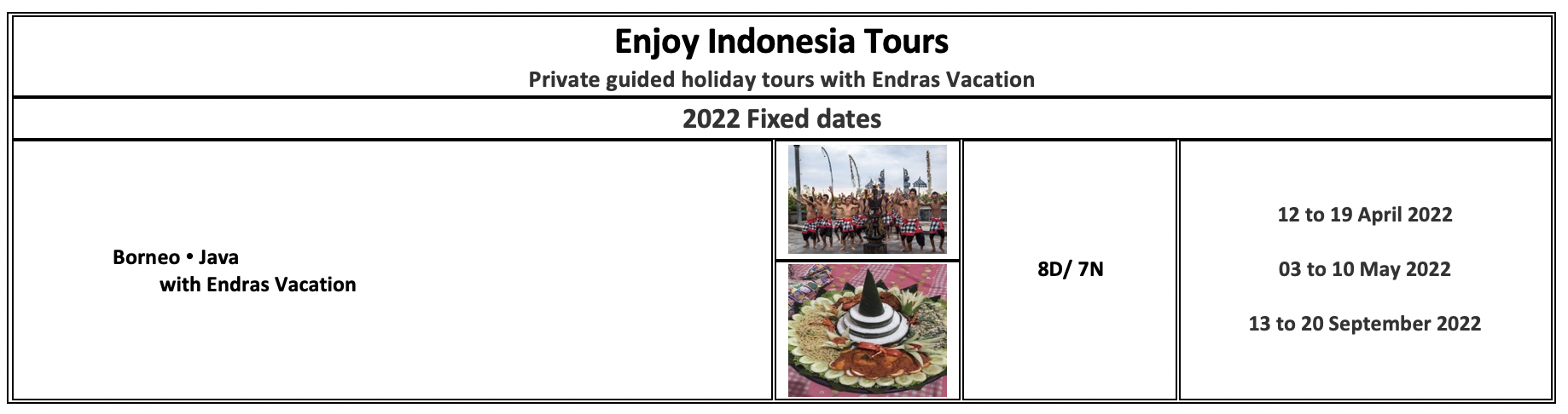 Enjoy Indonesia Tours 2022 Endras Vacation