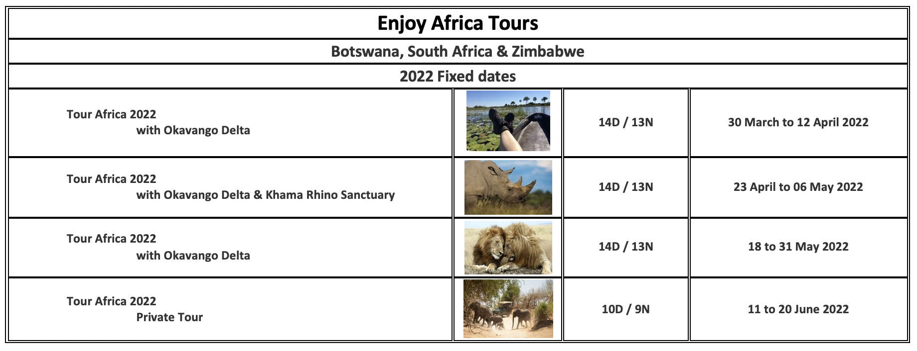 Enjoy Africa Tours 2022 English
