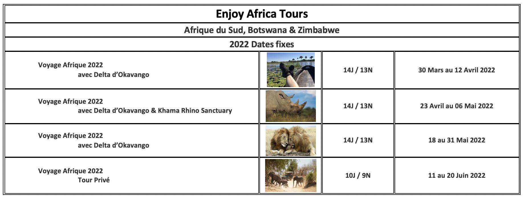 Enjoy Africa Tours 2022 French