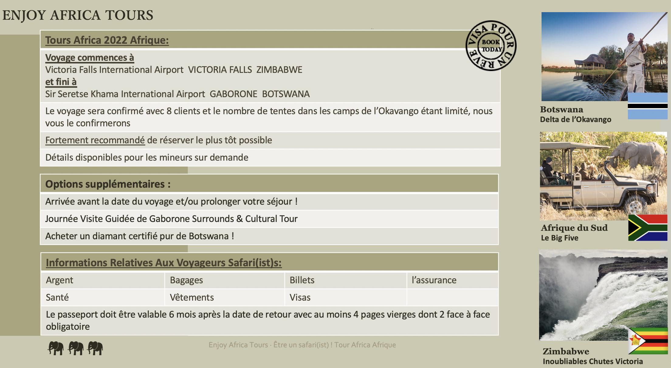 Enjoy Afrique Tours 2022