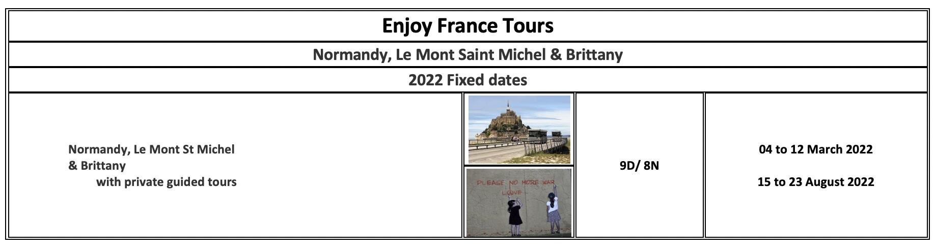 Enjoy France Tours 2022 Normandy