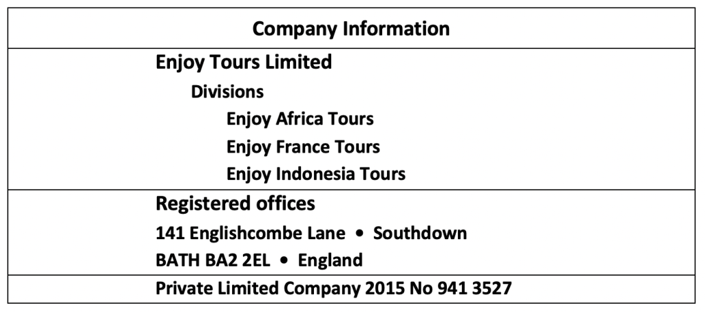 Enjoy Tours Limited Company Information
