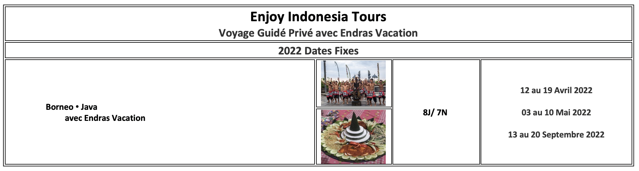 Enjoy Indonesia Tours Borneo Java 2022 French