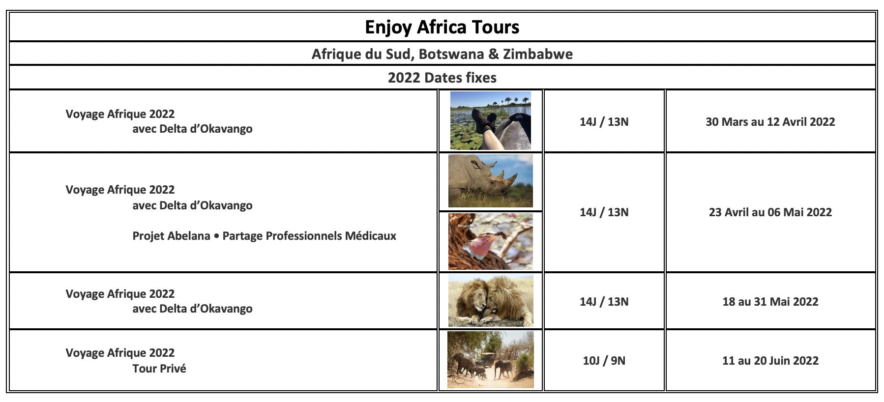 Enjoy Afrique Tours 2022 Afrique du Sud Botswana Zimbabwe